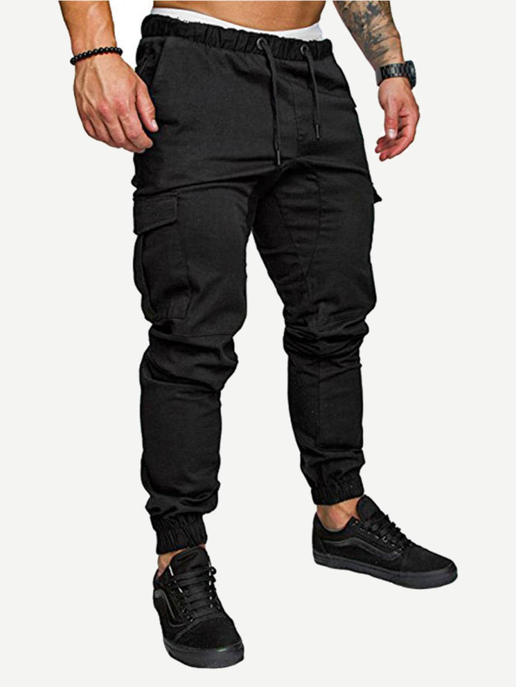 Sports Tights For Men - Pocket Decorated Drawstring Pants