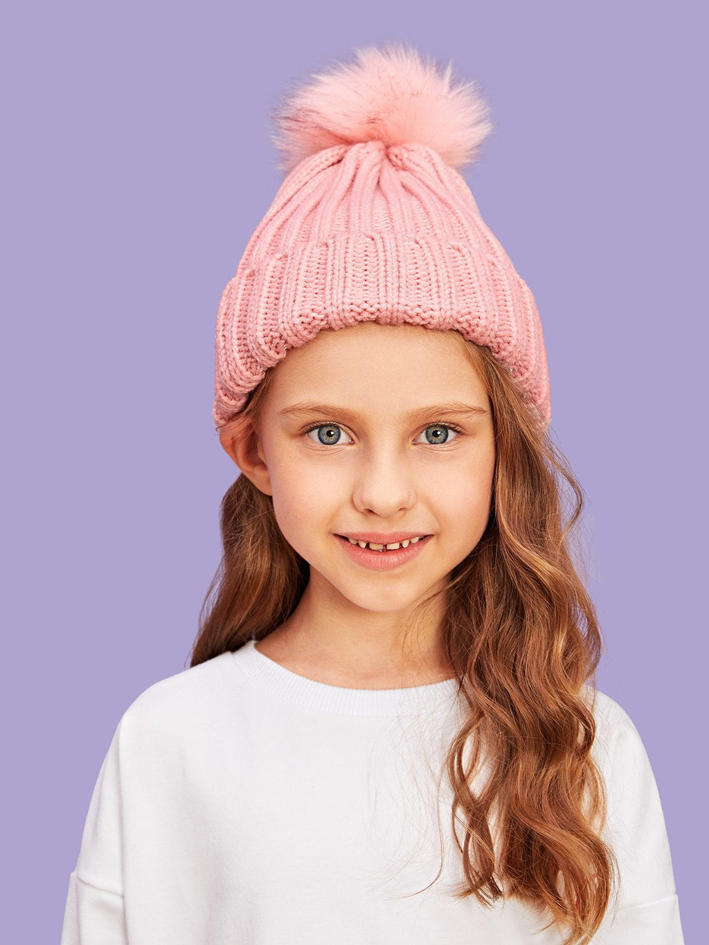 Girls Hats - Pompom Decorated Beanie Hat