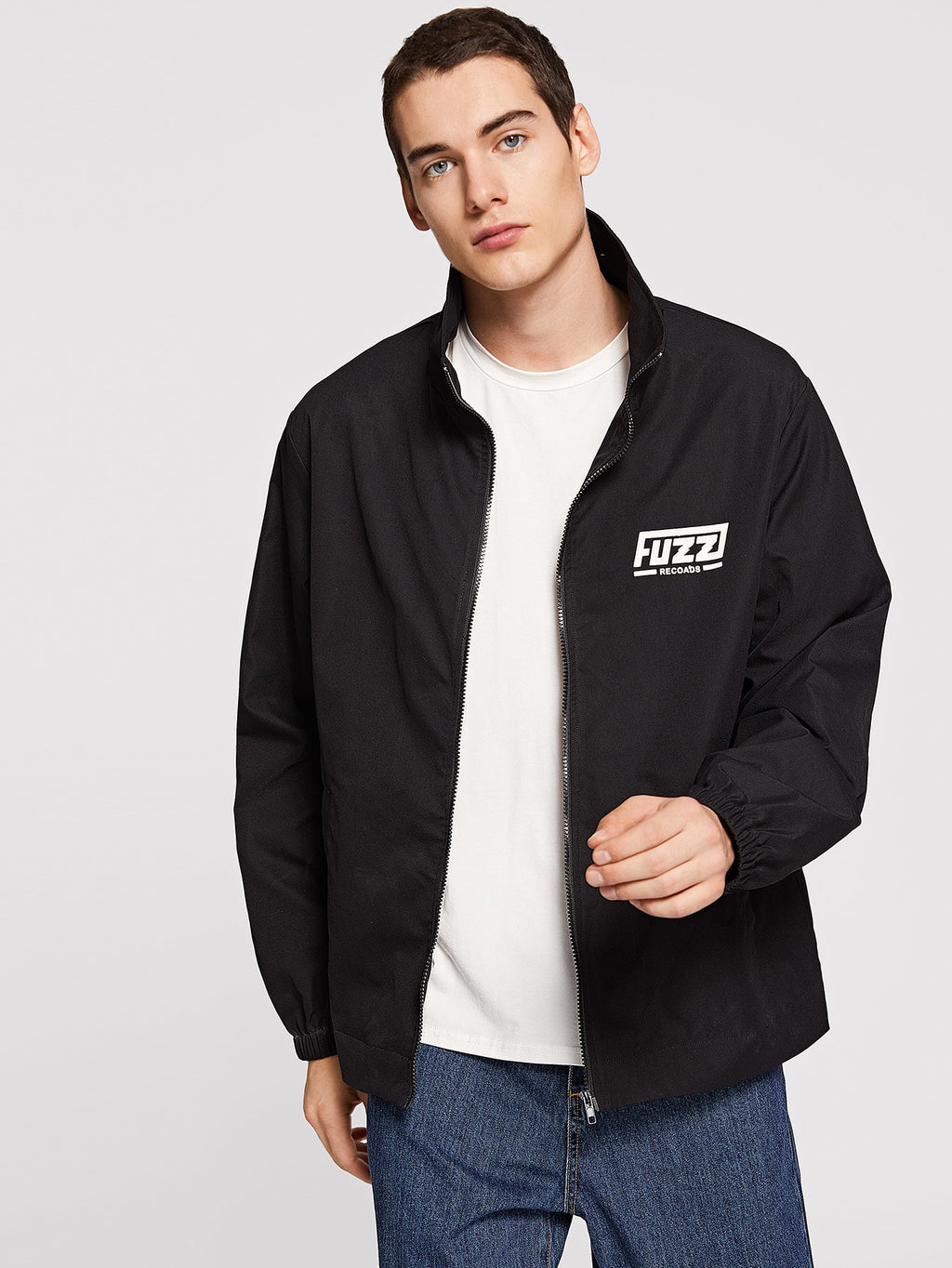 Workout Jackets - Men Letter Detail Zipper Jacket