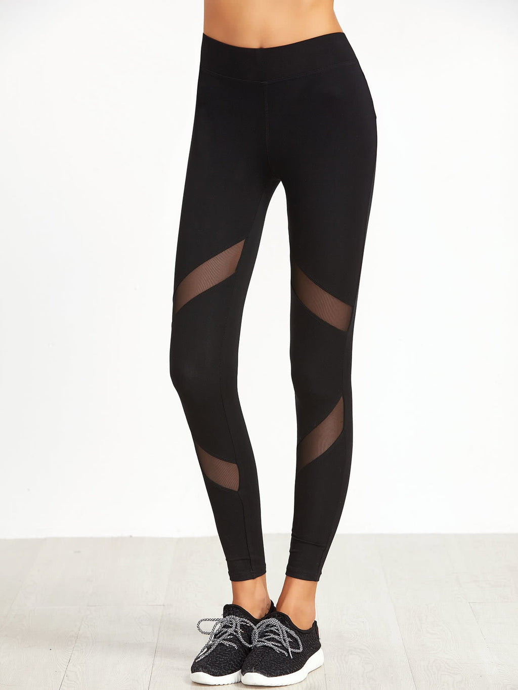 Leggings For Women - Mesh Insert Skinny Leggings