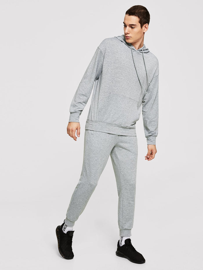 Men's Sportswear - Drawstring Hoodie Top & Pants Set