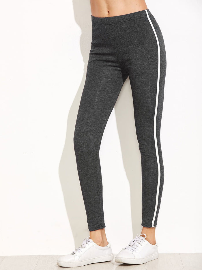 Leggings For Women - Dark Grey Striped Side