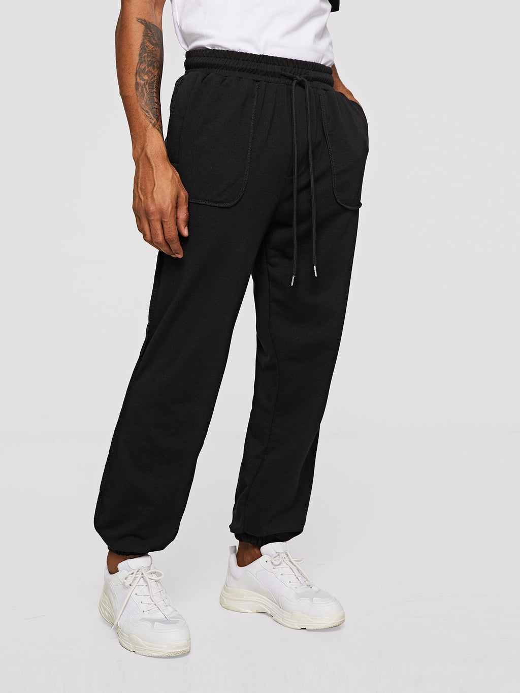 Pajamas - Men Patch Pocket Detail Seamed Sweatpants
