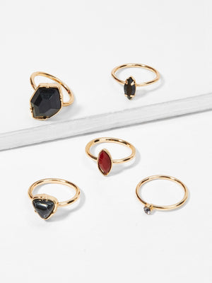 Rings For Women - Contrast Geometric Ring Set