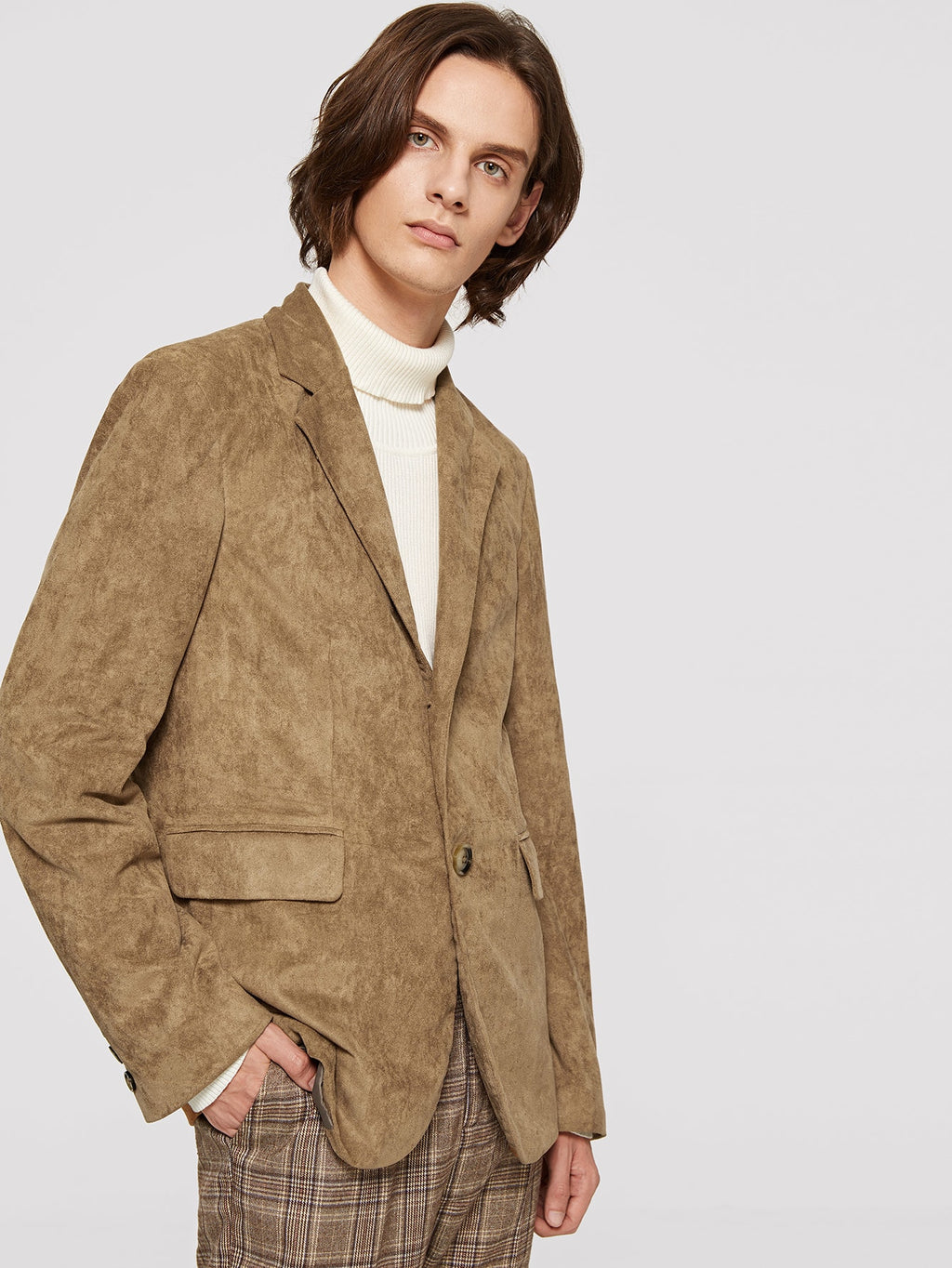 Men's Blazers - Notch Collar Single Breasted Suede Blazer