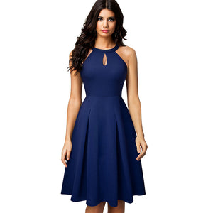 Vintage Casual Pure Color Vestidos With Key Hole A-Line Women Flare Dress
