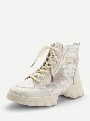 Womens Sneakers - Contrast Velvet Lace-Up Sneakers