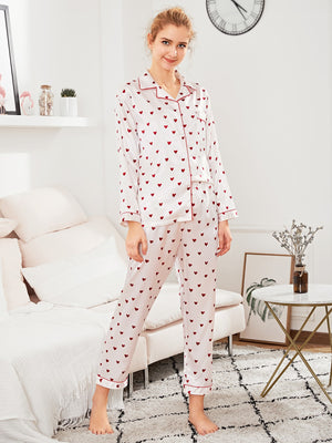 Pajamas For Women - Contrast Binding Heart Print Pajama Set