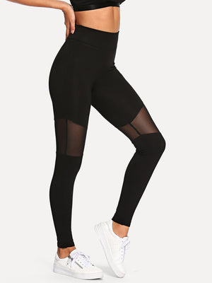 Leggings For Women - Mesh Contrast Skinny Leggings