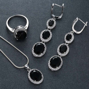Fashion Jewelry -  Black Sapphire White Topaz Jewelry Set