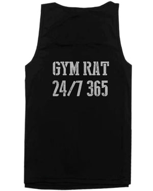 Workout Tank Tops - Gym Rat 24/7 365 Back Print Men's Workout Tank Top Sleeveless Sports Tanks