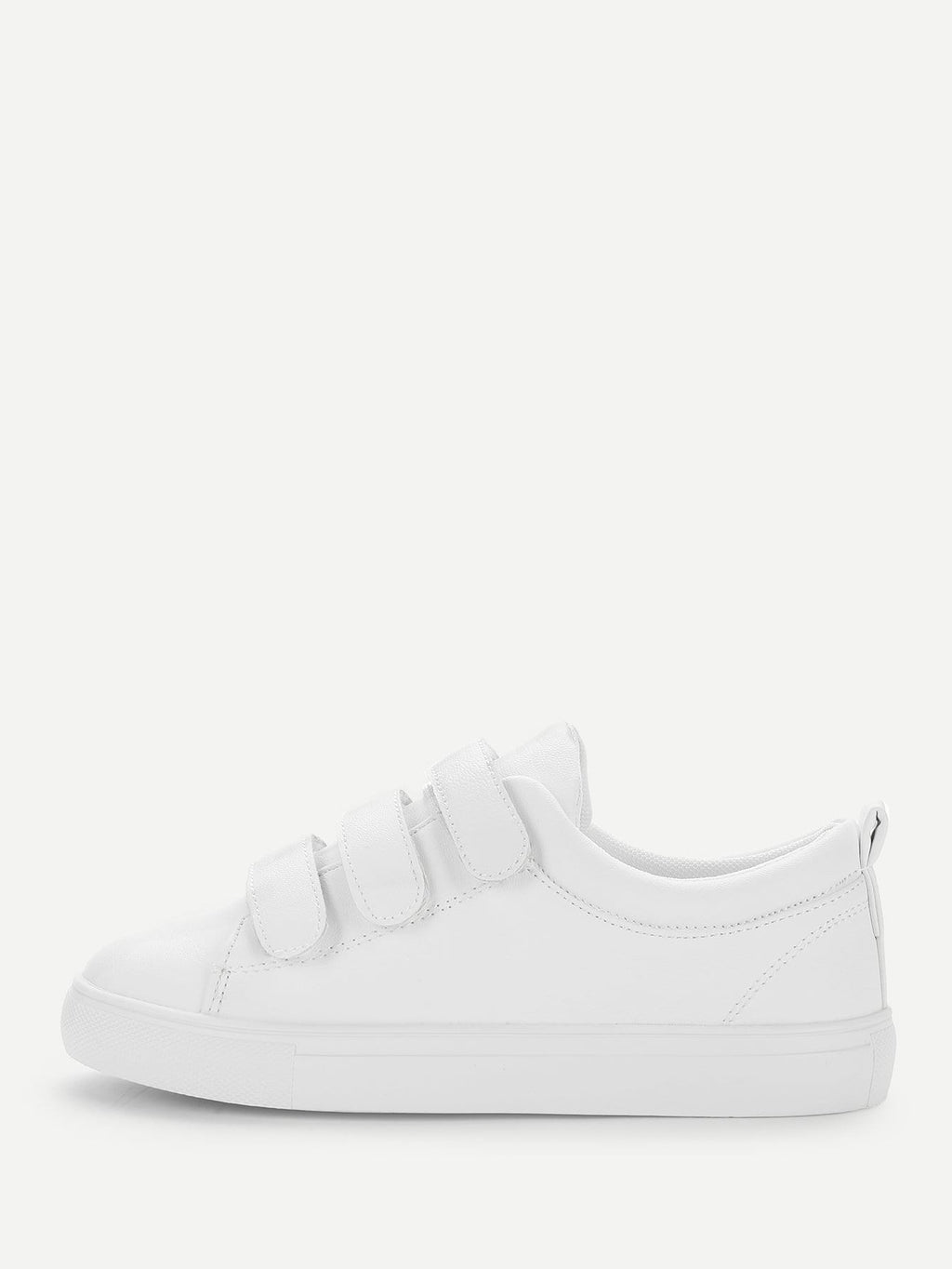 Womens Sneakers - Velcro Detail Low Top Sneakers