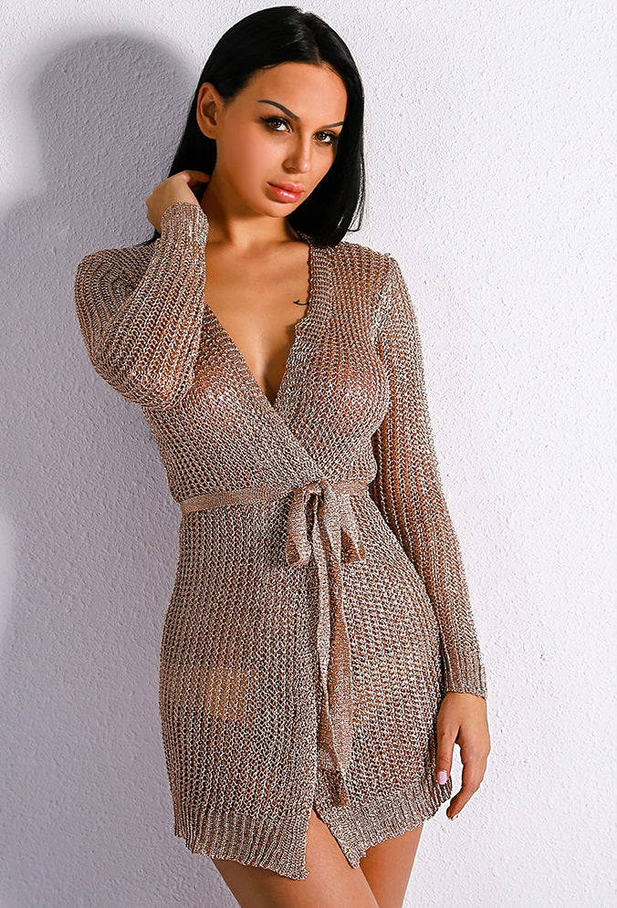 Sexy Rose Gold Sweater Dress