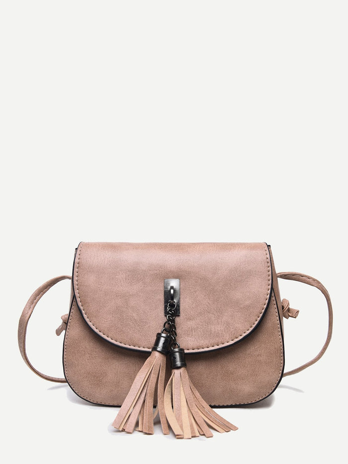 Women's Purse - Tassel Decor Flap Saddle Bag