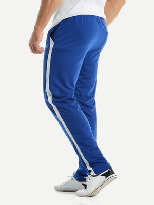 Sports Tights For Men - Contrast Panel Drawstring Pants