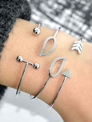 Bracelets - Arrow & Bar Cuff Bracelet Set 3pcs