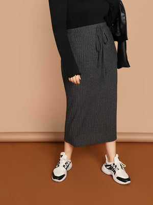 Plus Size Midi Skirts - Grey Color Drawstring Waist Rib Knit Skirt