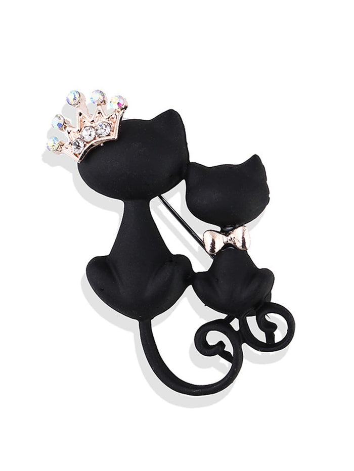 Fancy Brooches Pins - Double Cat Design Brooch