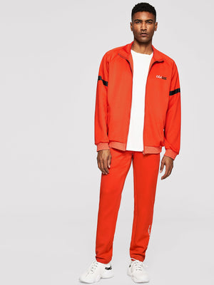 Men's Tracksuit - Zip Up Letter Detail Sweatshirt & Pants Set