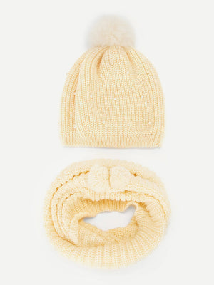 Girls Hats - Faux Pearl Detail Beanie & Infinity Scarf 2pack
