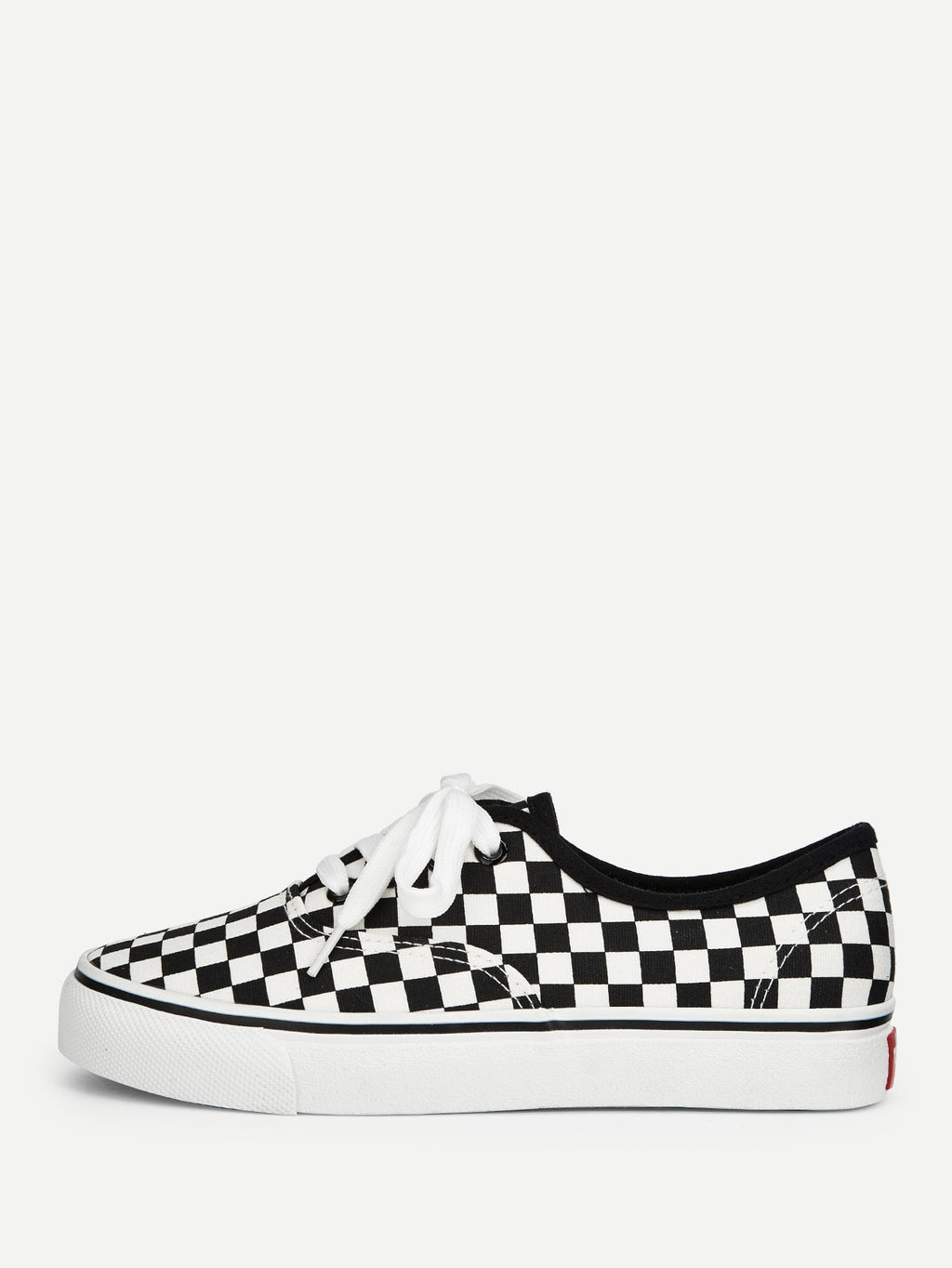 Womens Sneakers - Gingham Lace-up Sneakers