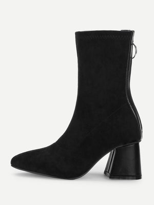 Women Boots - Back Zipper Plain Boots