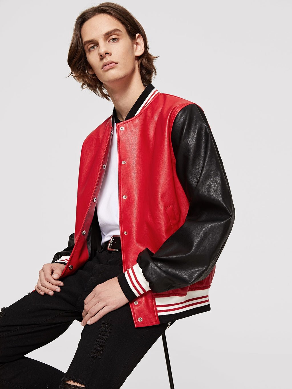 Workout Jackets - Men Contrast Striped Colorblock PU Jacket