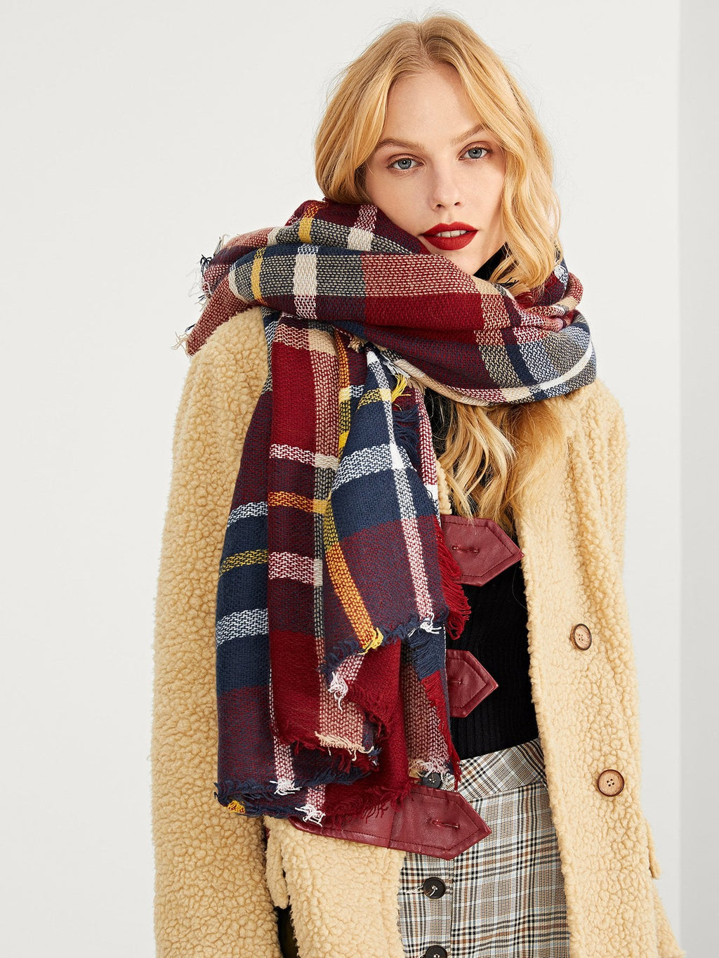 Women's Scarf - Frayed Trim Plaid Scarf