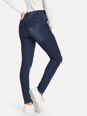 Women's Jeans - Knee Rips Jeans