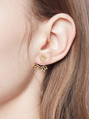Earrings - Lotus Design Swing Stud Earrings