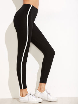 Leggings For Women - Black Striped Side