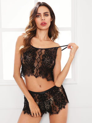 Nightwear - Hollow Out Lace Cami Top And Shorts