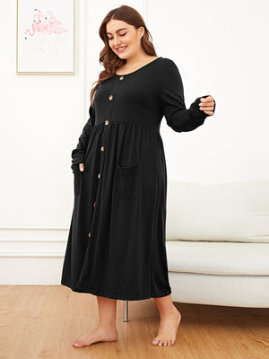 Plus Pocket Front Button Detail Night Dress