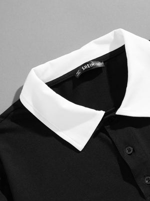 Men's Tops - Contrast Collar Letter Polo Shirt