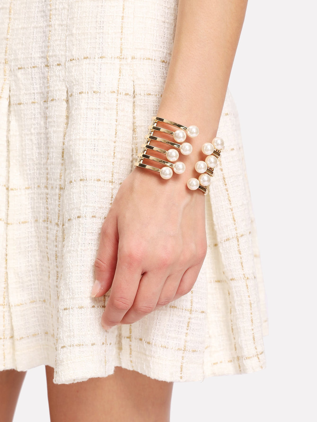 Bracelets For Women - Faux Pearl Detail Layered Cuff Bracelet