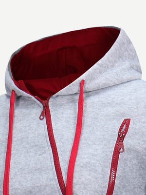 Men's Hoodies -  Men Zip Up Hooded Sweatshirt