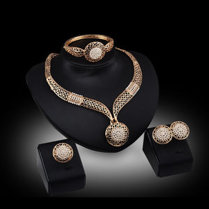 Bridal Jewelry - Bling Oval Design Pendant 18K Gold Plated Austrian Crystal Necklace Bracelet Ring Earrings 4PC