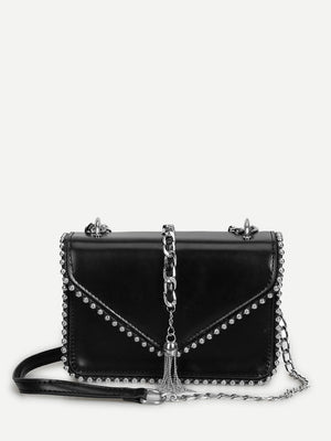 Purse For Women - Tassel Detail Beaded Chain Bag