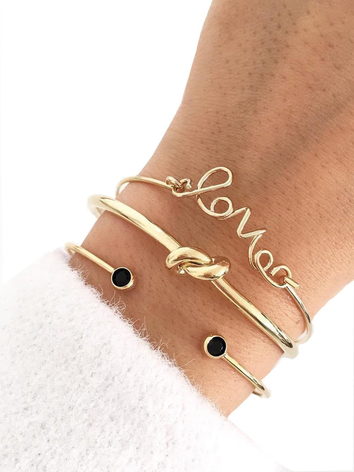 Bracelets For Women - Twist & Letter Cuff Bracelet Set 3pcs