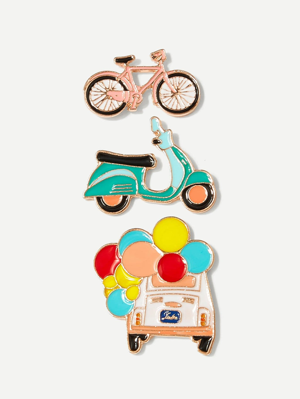Womens Brooches - Bicycle & Car Brooch Set 3pcs
