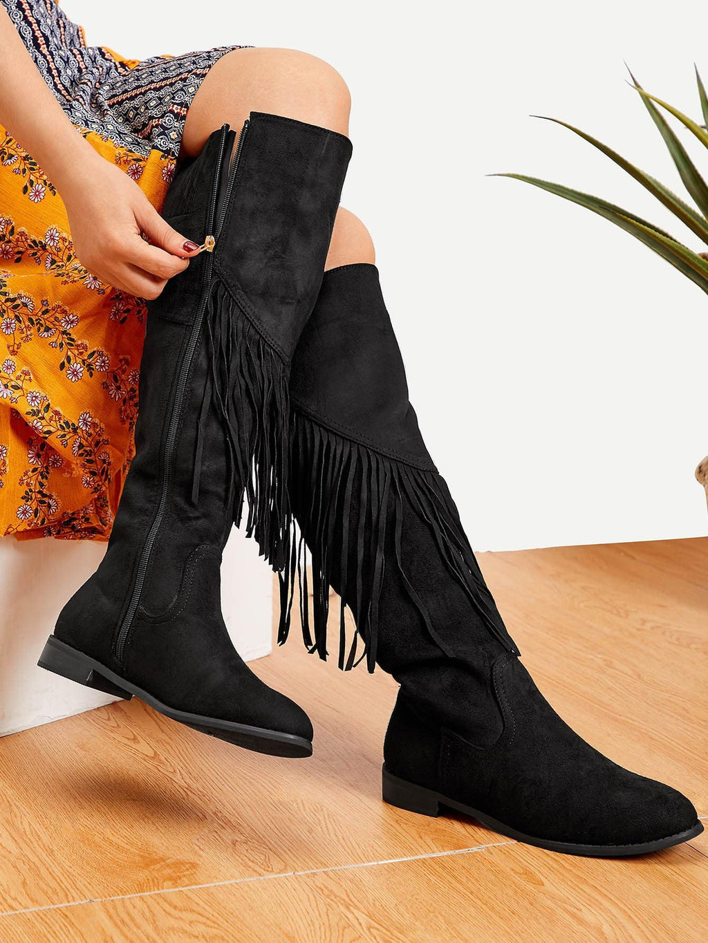 Women Boots - Tassel Detail Knee High Boots