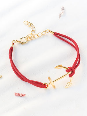 Bracelets For Women - Red Anchor And Chain Detail Bracelet