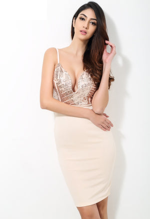 Women Dresses - Beige Sequin V Neck Plunge Party Dress