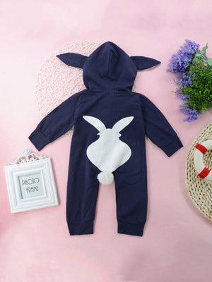 Toddler Boy Jumpsuits - Cartoon Print Hooded Jumpsuit