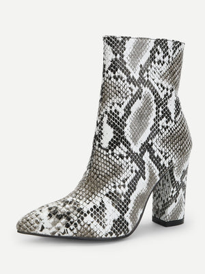 Party Boots - Snakeskin Side Zipper Boots