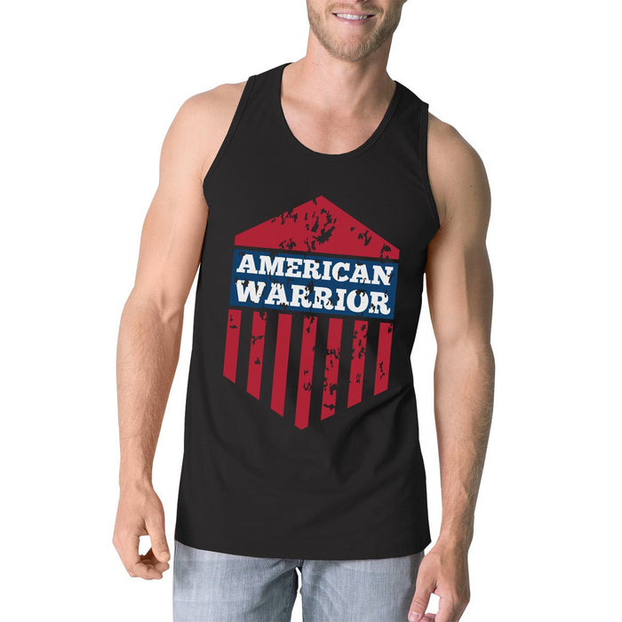 Men's Tank Tops - American Warrior Black Crewneck Graphic Tanks For Men Gift For Him