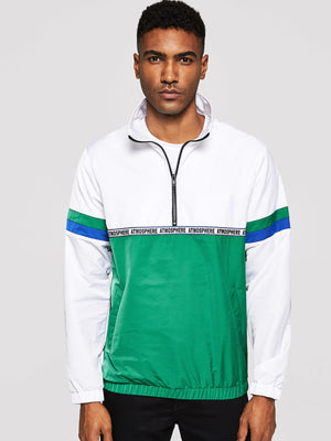 Workout Jackets - Men Zip Half Placket Color-Block Jacket