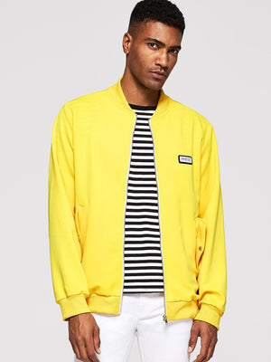 Training Jackets - Neon Yellow Men Zip Up Flap Pocket Bomber Jacket