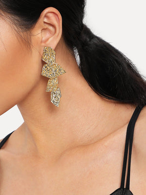Earrings - Irregular Disc Design Drop Earrings