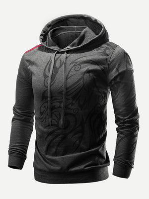 Unique Hoodies - Men Abstract Print Hooded Sweatshirt